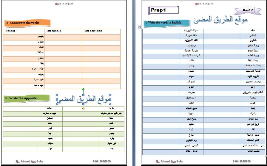 تحميل مذكرة اللغة الانجلزية اولى اعدادى مستر محمد ابو سته , 2018