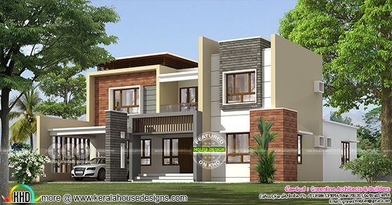 4 bedroom flat roof box model modern Kerala home