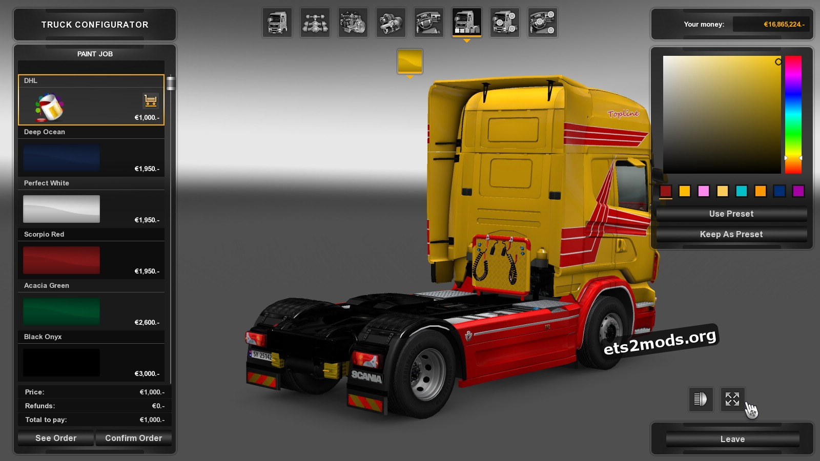 DHL Skin for Scania RJL