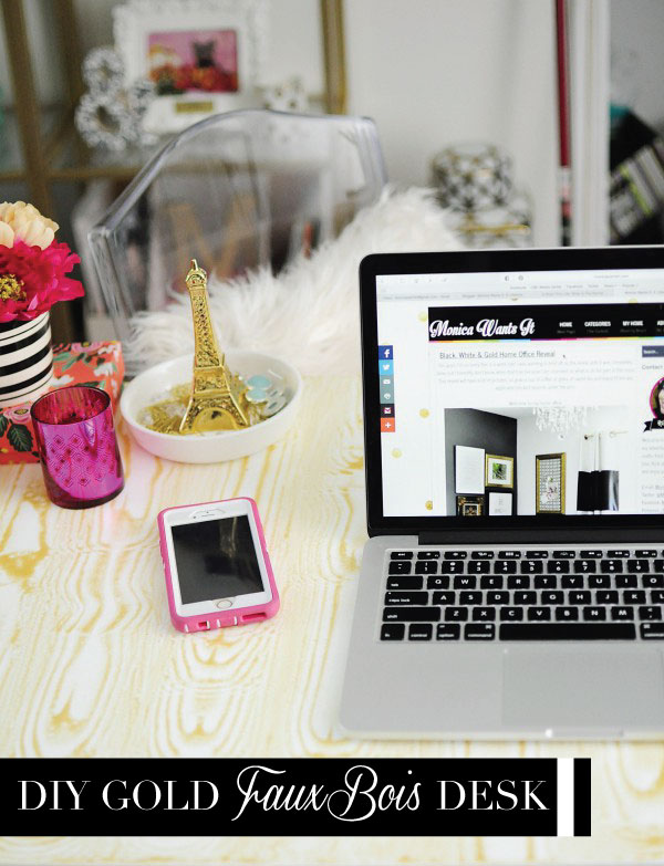 A gorgeous DIY gold faux bois desk inspired by a $699 version from PB Teen. Tutorial and details available at monicawantsit.com
