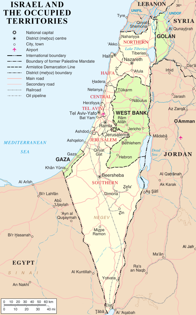 map of israel and occupied territories