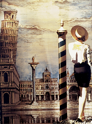 "Moschino Shop window in Via Sant'Andrea boutique, Milan - ""Venezia"", 1992 - Image taken from the book ""? Moschino"" by Mariuccia Casadio and Luca Stoppini"