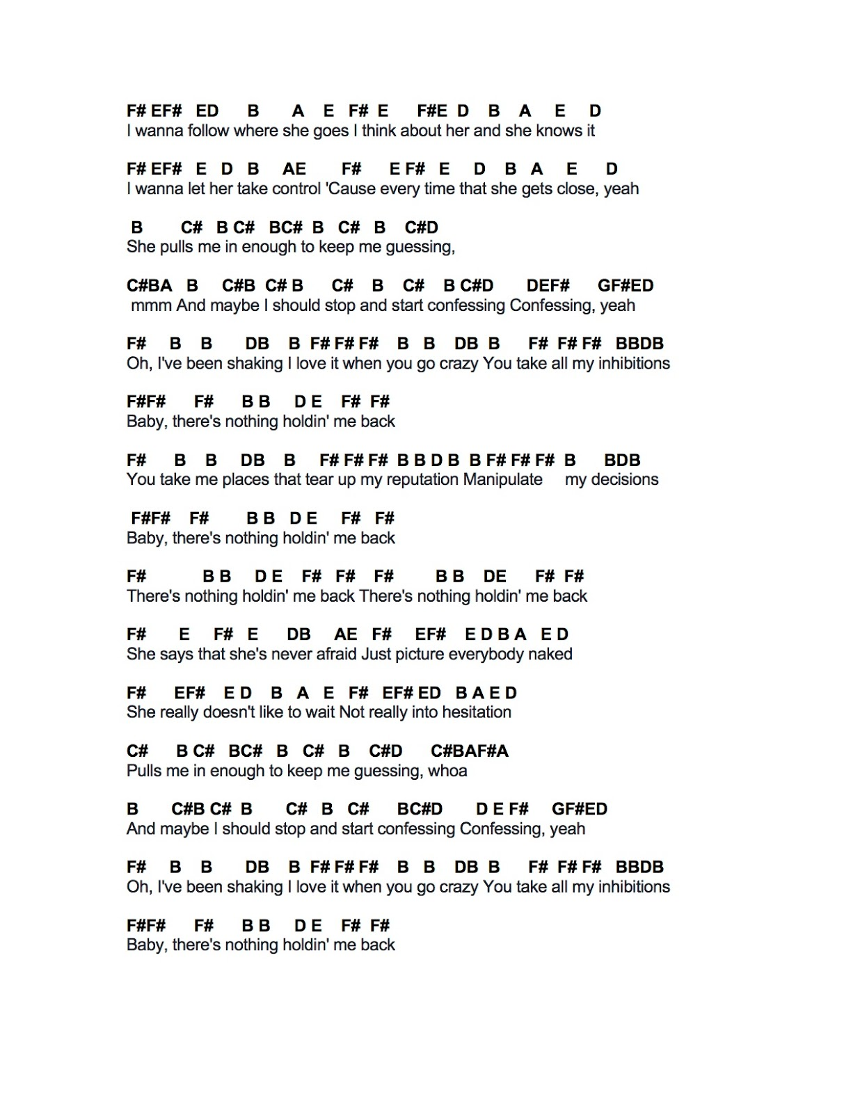 Girls girls boys chords