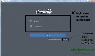 Tampilann awal Gramblr di Desktop