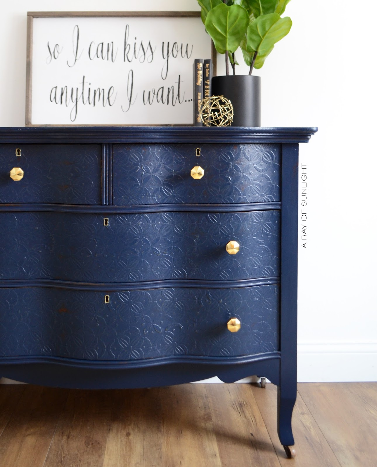 Navy Blue Painted Dresser with Gold Knobs