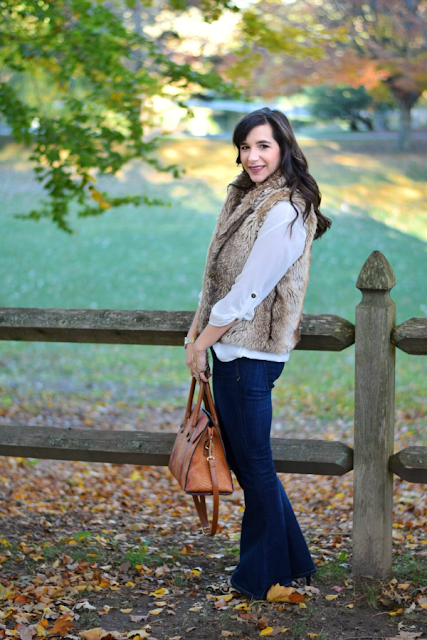 Flare Jeans Teacher Outfit with Faux Fur Vest