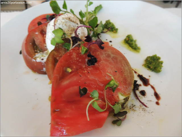 Dine Out Boston 2016: Heirloom Tomato Salad, Burratta, Basil Puree, Aged Balsamic