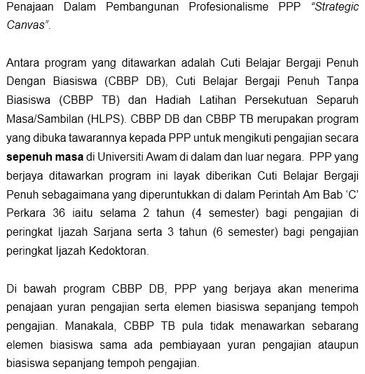 Cuti Belajar Bergaji Penuh (CBBP) KPM Tahun 2018 untuk pegawai perkhidmatan pendidikan