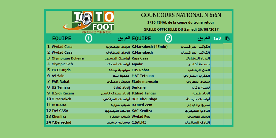 PRONOSTIC TOTOFOOT NATIONAL N 616N