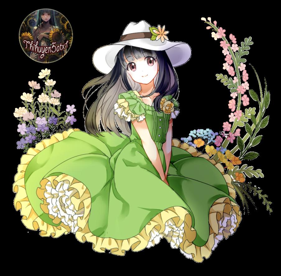 render  heroine sweet anime girl