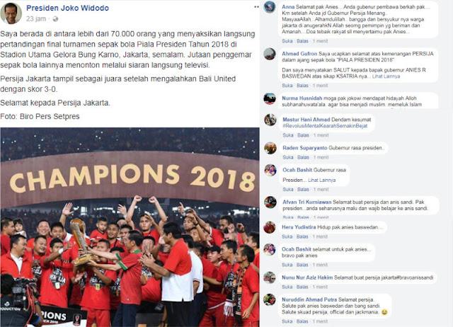 Postingan akun FB Jokowi Malah Dibanjiri Ucapan Simpatik untuk Anies dan Ganti Presiden 2019