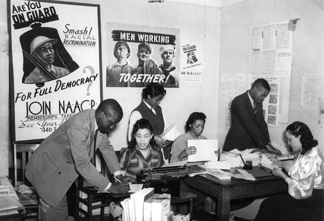 People work in the NAACP branch office in Detroit, Michigan, in the 1940s.