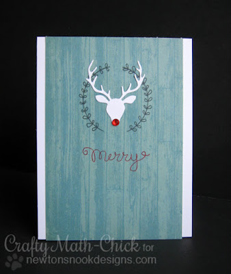 Merry Rudolph Reindeer card by Crafty Math Chick | Splendid Stag dies, Happy Little Thoughts Stamp set & Holiday Wishes stamp set by Newton's Nook Designs