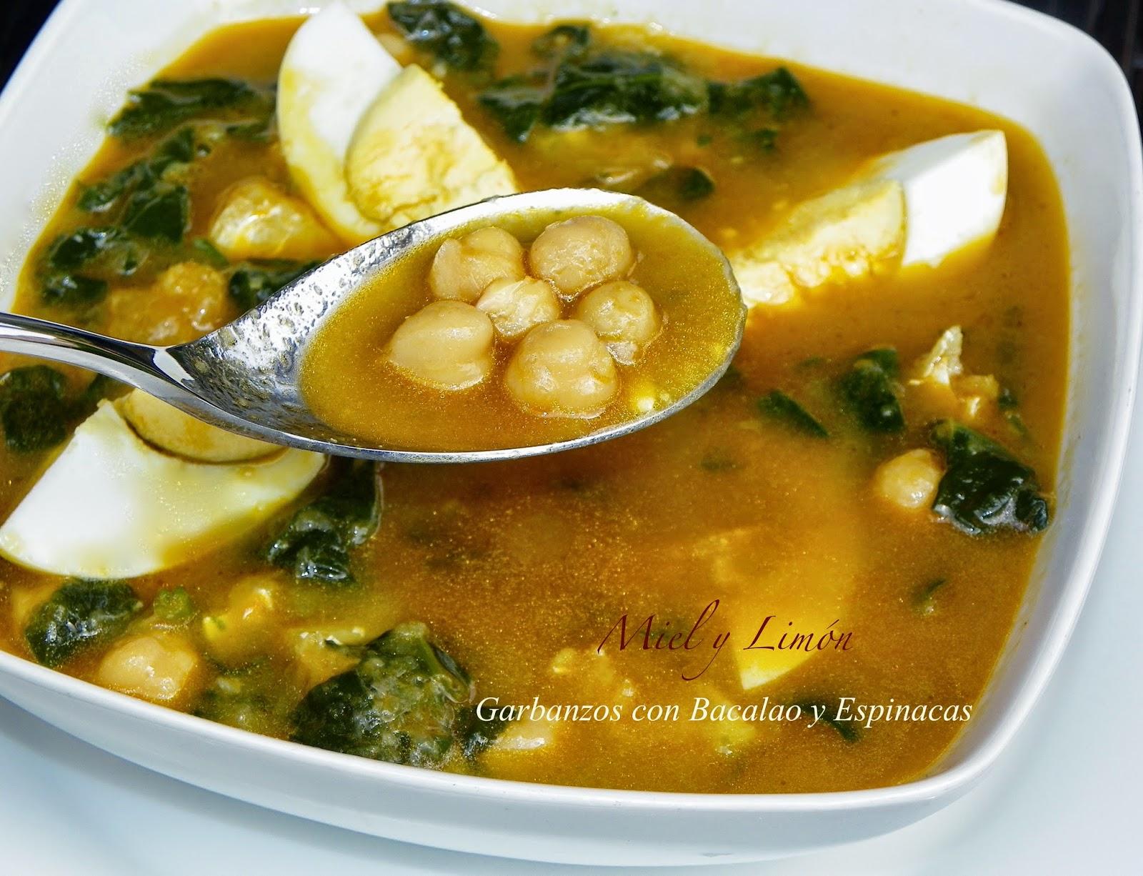 Miel y lim n potaje de garbanzos bacalao y espinacas - Bacalao con garbanzos y patatas ...