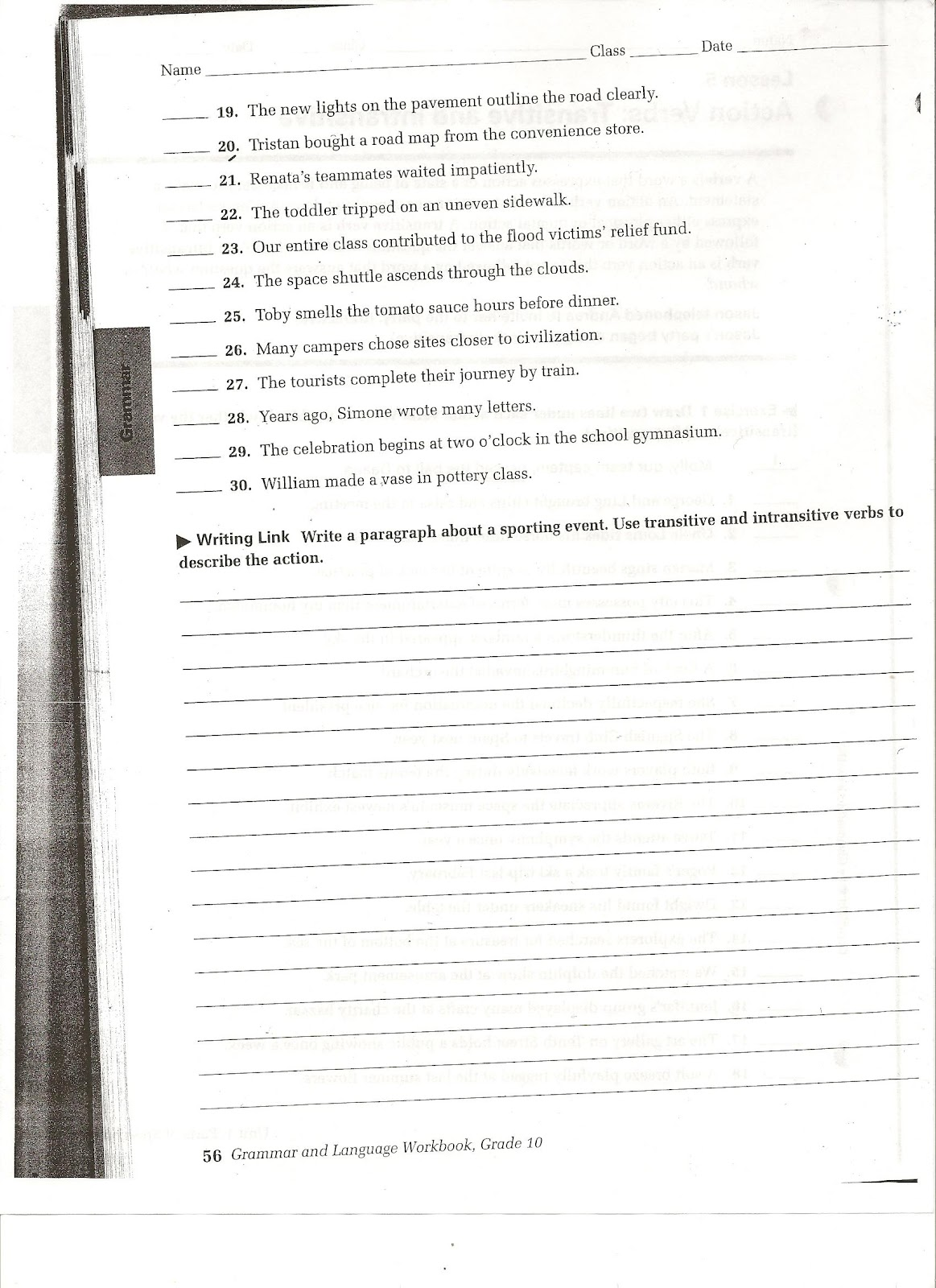 Miss Carden S Class Transitive And Intransitive Worksheet