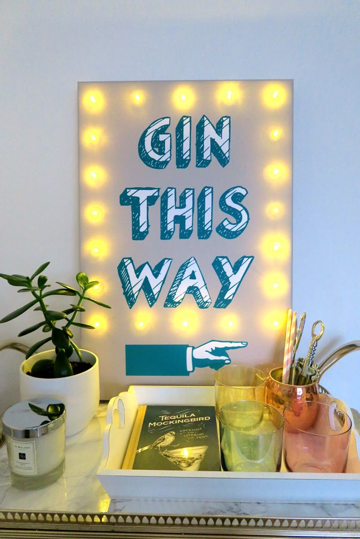 I Just love It gin this way illuminated canvas