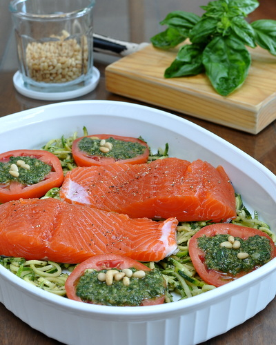 Salmon with Pesto Zucchini Noodles & Warm Tomatoes, another Quick Supper ♥ KitchenParade.com. High Protein. Low Carb. Gluten Free. Paleo. WW Weight Watchers Friendly. Whole30 Friendly.