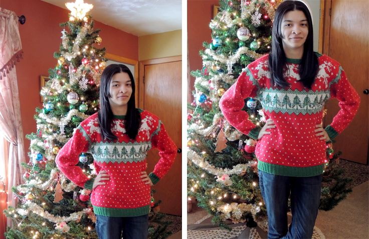 hand knit Christmas sweater