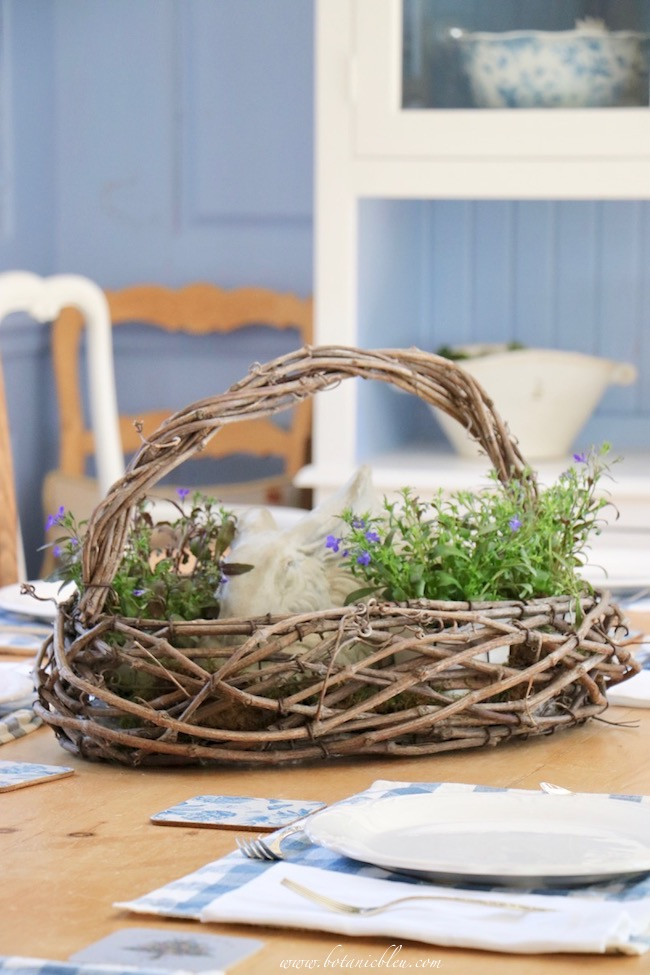 No flower arranging skills needed to create a French country floral centerpiece bunny basket