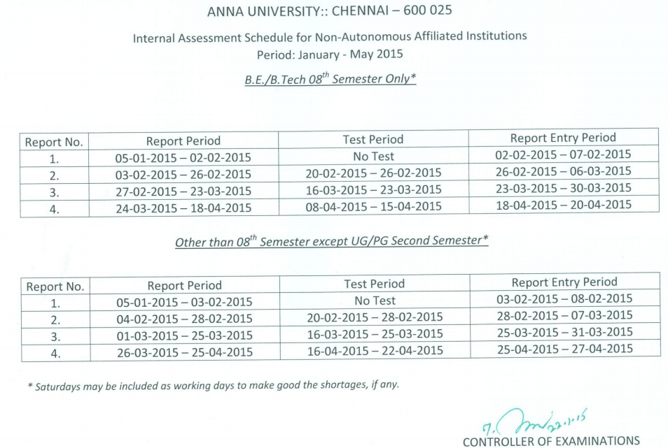 Anna University Internal Assessment Exam Sxhedule Jan May 2015