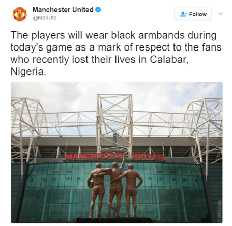 Man U players will wear black armbands during today's game in honor of fans who died in Calabar