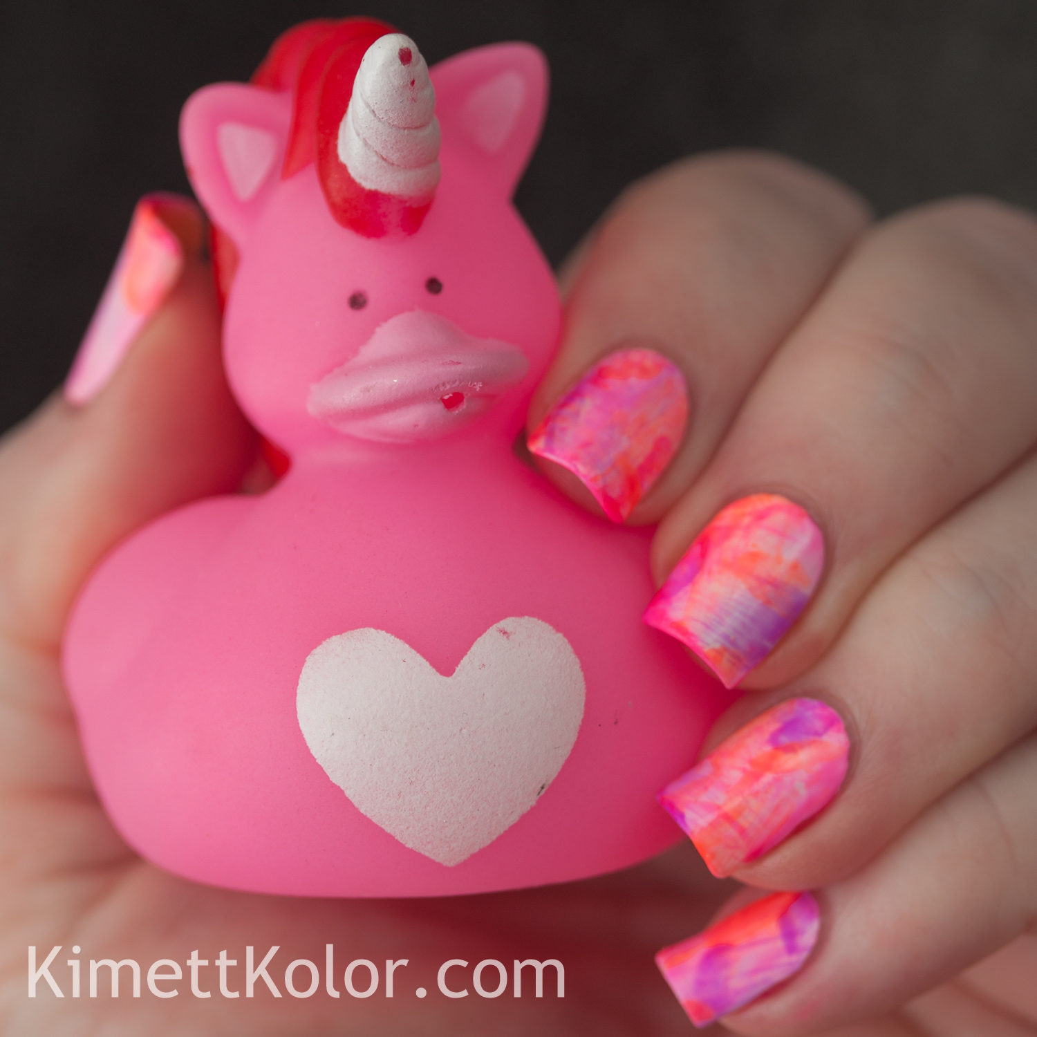 KimettKolor Neon Dry Marble Nail Art with Doctor Lacquer
