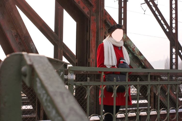 red coat bridge rust freezing white scarf