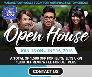 JROOZ IELTS/UKVI/OET One Day Promo  Join us on June 16, 2018   Free IELTS / IELTS UKVI / OET Orientation  IELTS: – 500 Off on Review Fee and Exam Fee A total of 1000 Off for IELTS/IELTS UKVI  OET: – 500 Off on Review Fee for OET plus – Receive free assistance in exam registration and – 50% Reimbursement Fee for OET exam coming from our Partner Recruitment Agencies (OFFER IS EXCLUSIVE TO JROOZ STUDENTS)