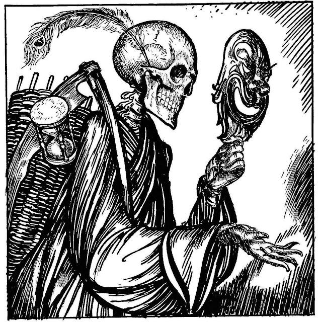 an Edmund J. Sullivan illustration of death holding a mask
