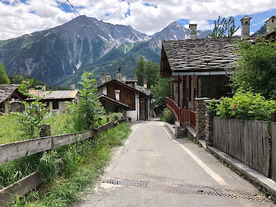 View of the trail for the two day hike. Strada del Villair above Courmayeur which is part of the TMB.