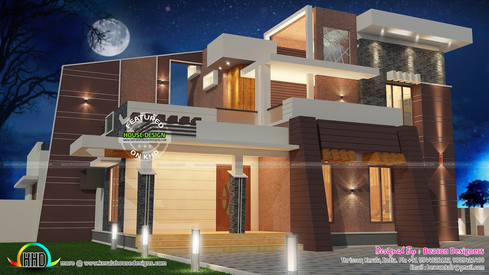 Modern 4 bedroom villa architecture kerala home design for 4 bedroom villa plans