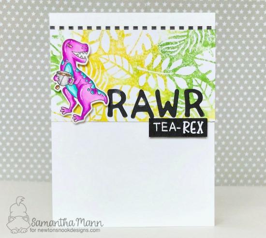 Dinosaur and Tea card by Samantha Mann | Tea Rex Stamp Set, Tropical Leaves Stencil and Essential Alphabet Die Set by Newton's Nook Designs #newtonsnook #handmade