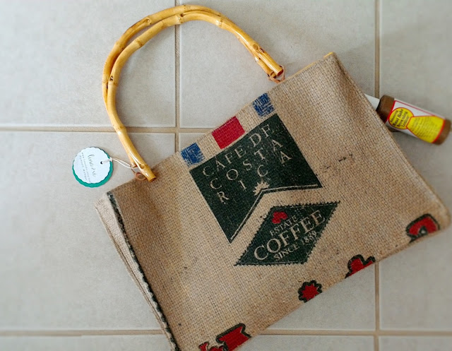 Costa Rica burlap beach bag - tote handmade by Lina and Vi in Plymouth MI - shop www.linaandvi.etsy.com