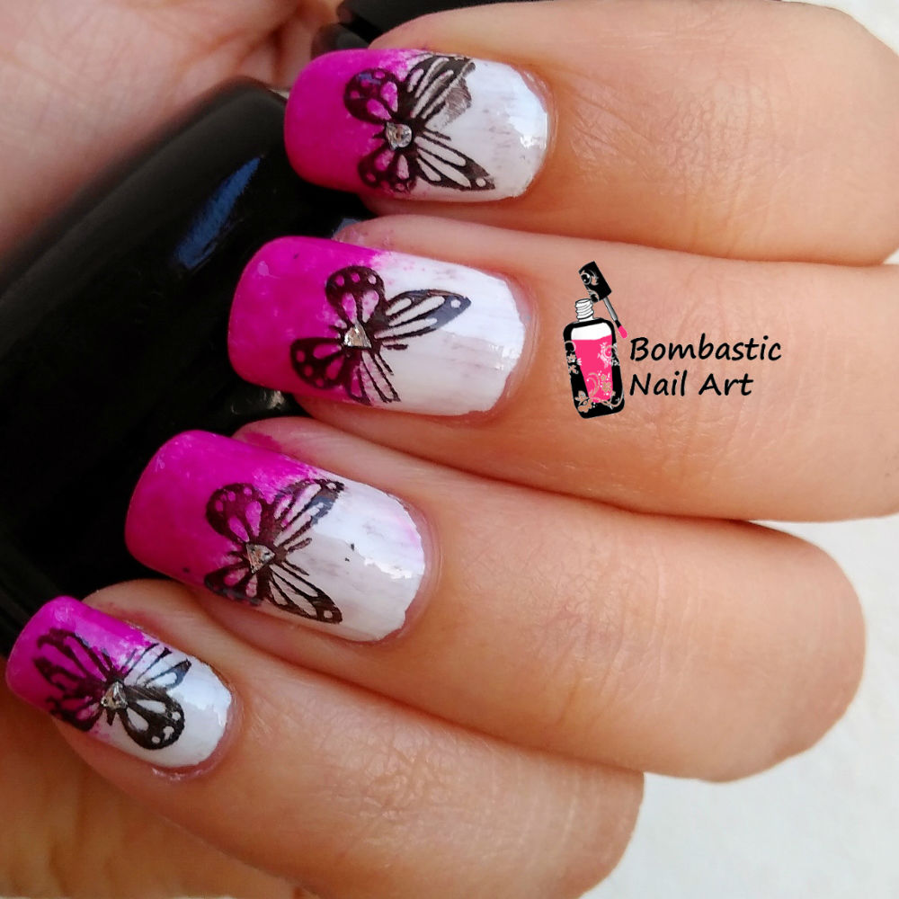 Butterfly Nail Art: How To Make Butterfly Stamping Decals On Gradient Nails