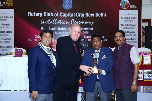Brijesh Mathur passes the baton to Amrit Mohini Suri as the new president of Rotary club of capital city