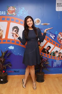 Actress Mannara Chopra Stills in Blue Short Dress at Rogue Song Launch at Radio City 91.1 FM  0069.jpg