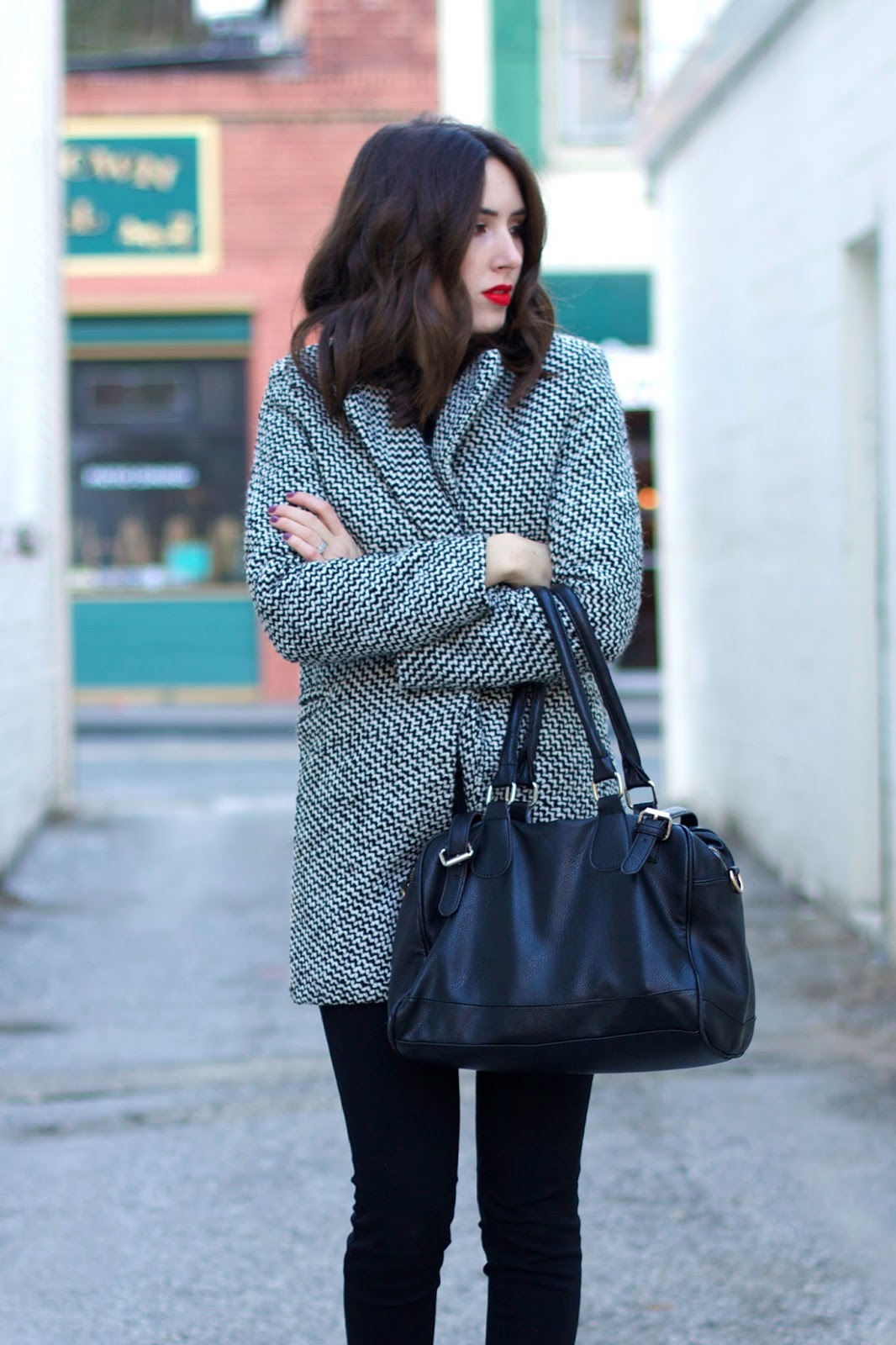 black-and-white-herringbone-coat