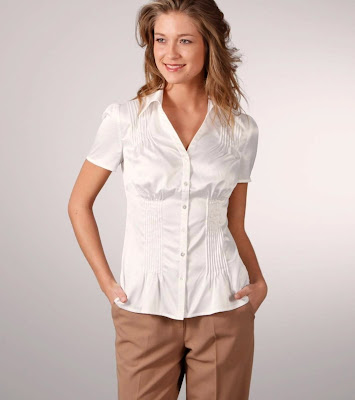 Short Sleeve Satin Shirt Blouse