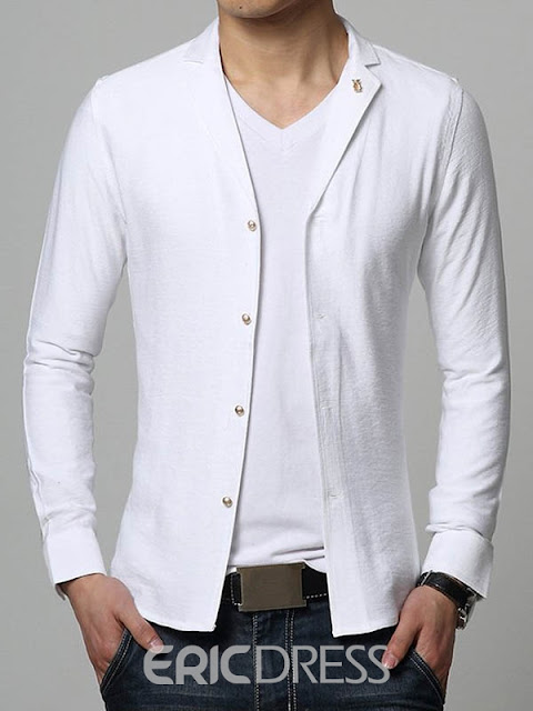 Solid Color Lapel Single-Breasted Unique Men's Shirt