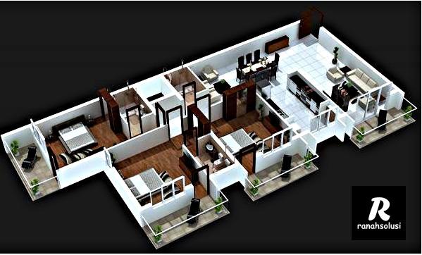 Gambar Desain Rumah Minimalis 3 Kamar 3D