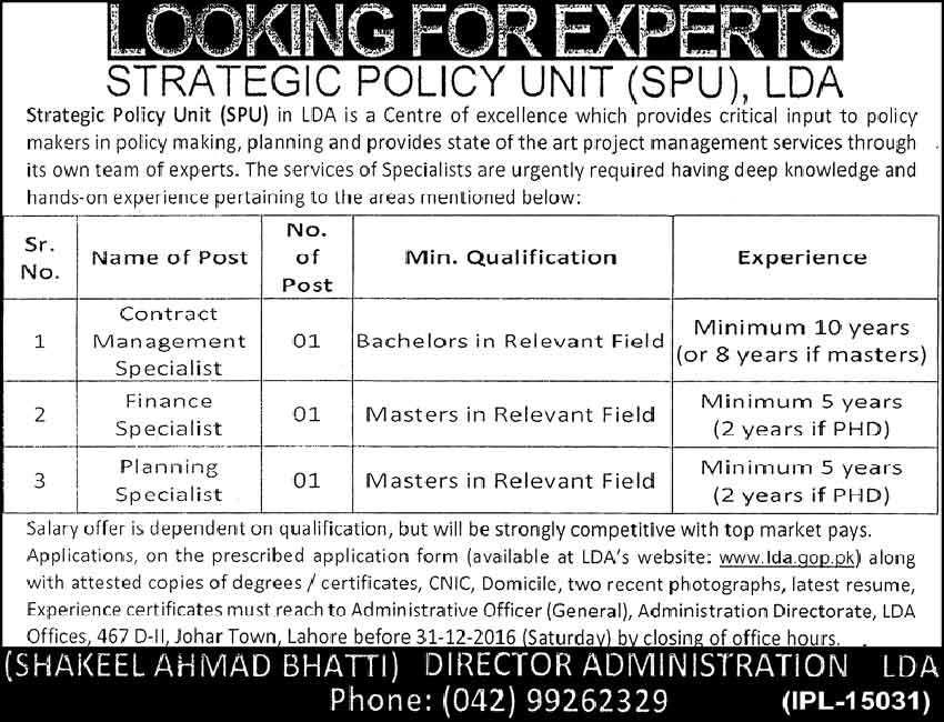 Strategic Policy Unit Lahore Development Authority Jobs
