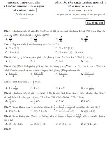 Đề thi học kì 1 môn toán lớp 12 - có đáp án