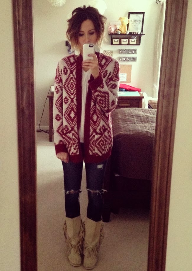 red aztec cardigan, destroyed denim, moccasins