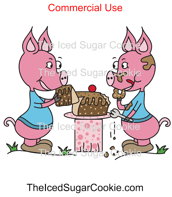 Piggy Eating Chocolate Cake Pink Pig Illustration Cartoon Clipart Picture Image Commercial Business Use Logo by The Iced Sugar Cookie www.theicedsugarcookie.com