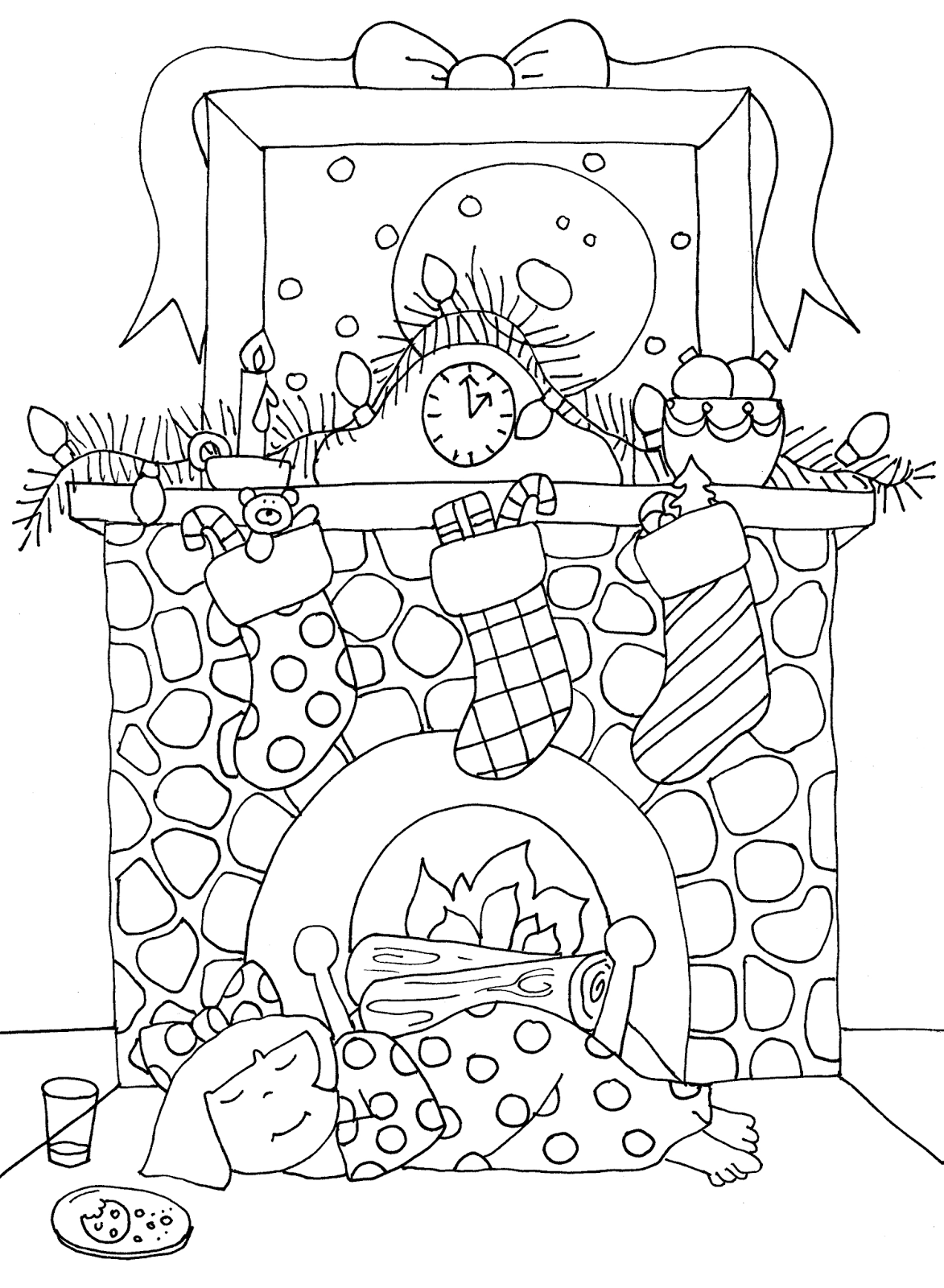 fireplace coloring page - free dearie dolls digi stamps christmas fireplace