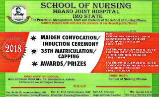 SON Joint Hospital Mbano 1st Convocation/35th Matriculation Ceremony Schedule