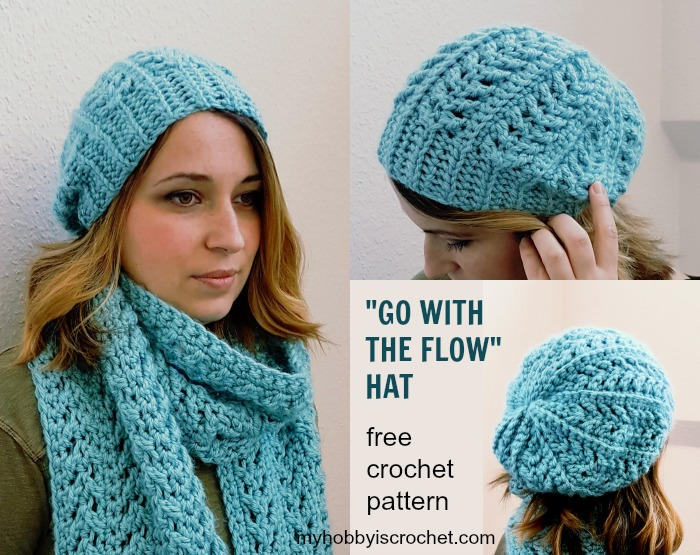 Go with the Flow Hat Free Crochet Pattern on myhobbyiscrochet.com