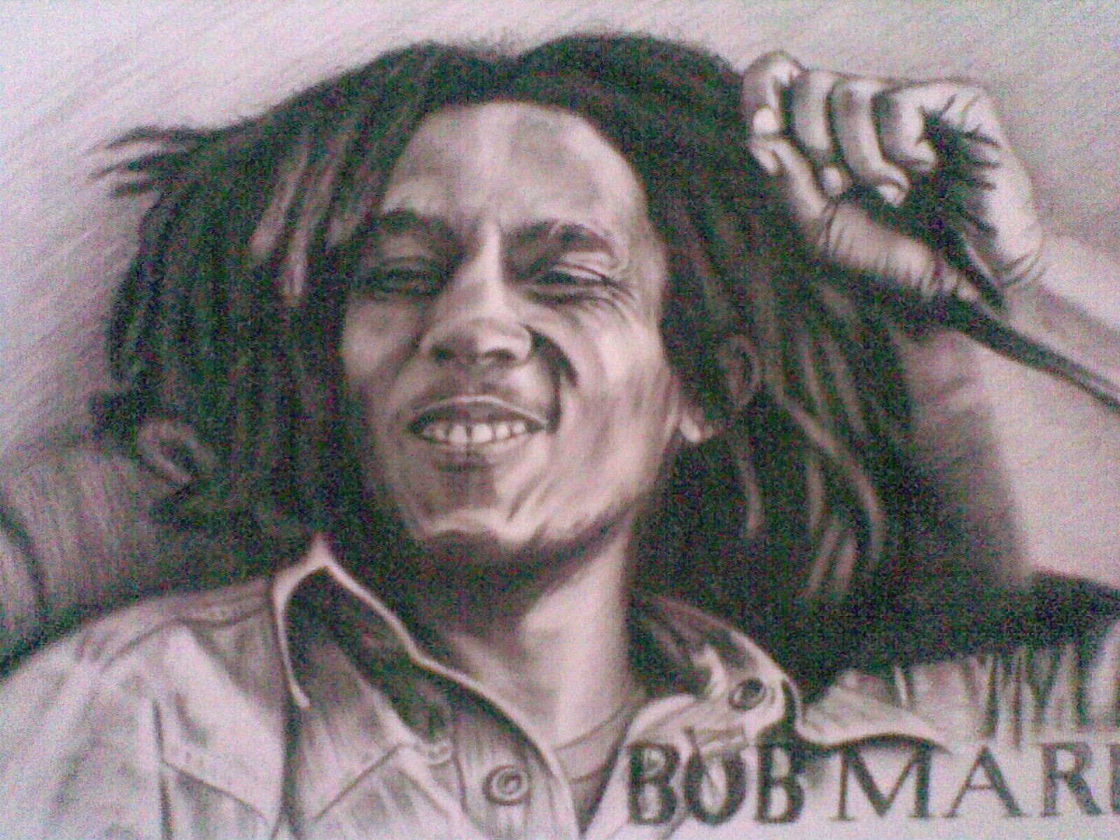 Gambar Sketsa Wajah Bob Marley