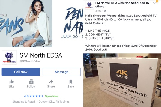 True or Hoax: Sony TV giveaway of 'SM North EDSA' Facebook page