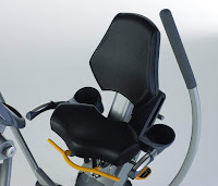 45-degree angled cushioned seat with backrest & multiple height/tilt adjustments on Octane Fitness xR6000 and xR650 recumbent elliptical trainer, image